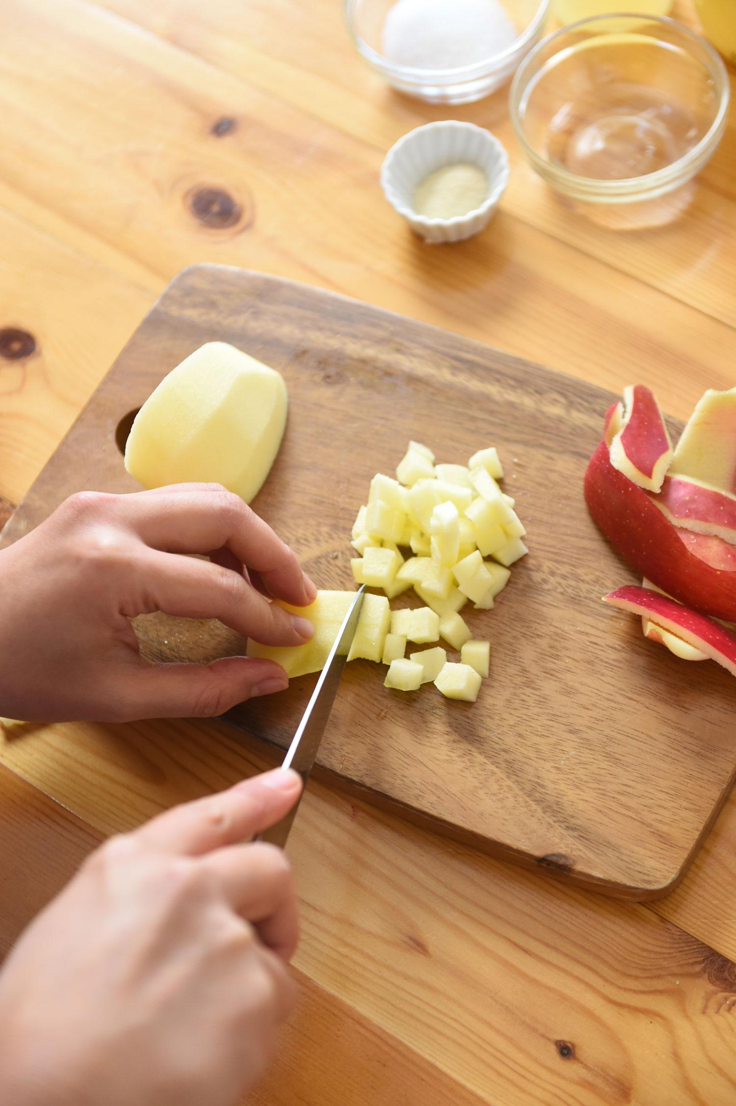 りんごの料理 りんごと豆乳のチーズムース1