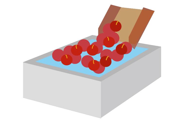 青森りんごジュース工程2 洗浄・選果
